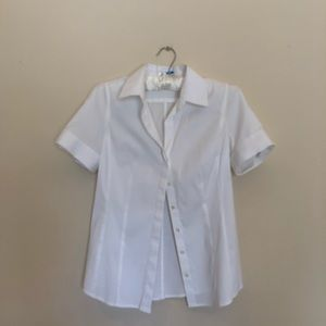 Ann Taylor Short Sleeve Fitted Button Down Shirt